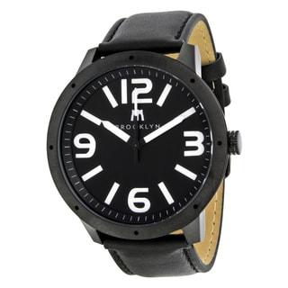 Brooklyn Watch Co. De Kalb Men's Black and White Stainless Steel Quartz Watch with Leather Strap