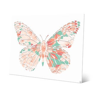 Pink Rose Butterfly' Metal Wall Art