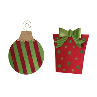 Red/Green Metal LED Gift and Ornament (Set of 2)