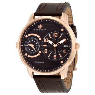 Willoughby Men's Brown Stainless Steel and Leather Dual-time Quartz Watch