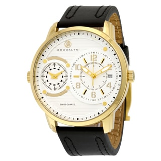 Brooklyn Men's Willoughby Goldtone Stainless Steel Dual Time Swiss Quartz Watch With Black Leather Strap