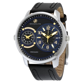 Willoughby Men's Black Leather Dual-time Dial Watch