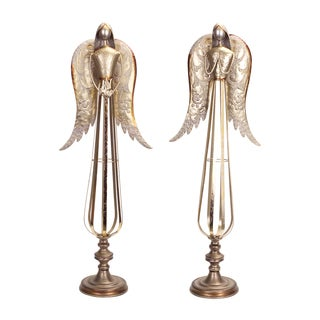 Goldtone Metal Praying Angel Figurines (Set of 2)