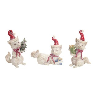 Red and White Polyresin Santa Fox Figurines (Pack of 3)