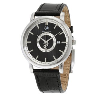Brooklyn Watch Co. Men's Myrtle II Black Dial Watch with Leather Strap