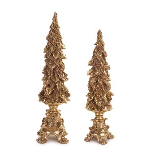 Gold Polyresin Christmas Tree Table Finial (Set of 2)