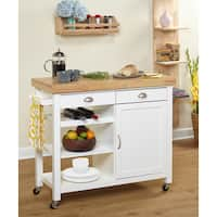 Simple Living Martha Rubberwood Kitchen Cart - N/A