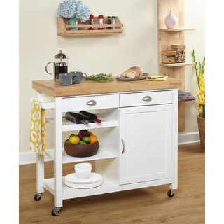 Simple Living Martha Rubberwood Kitchen Cart (2 options available)