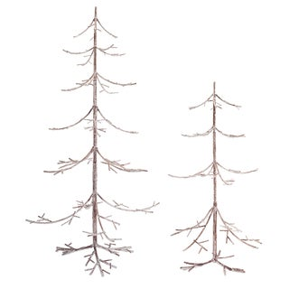 White/Brown Metal Weathered Branch Tree (Pack of 2)