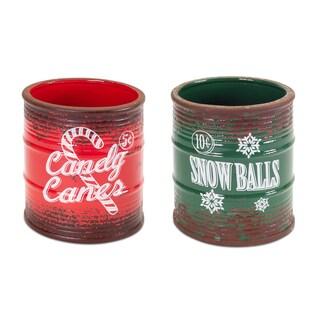 Red/Green Ceramic Vintage Christmas Jars (Set of 2)