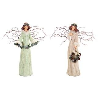 Green/Beige Branch Angels (Set of 2)