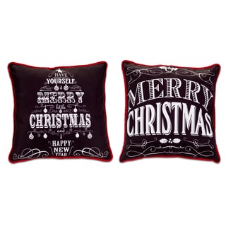White/Black Polyester Christmas Chalkboard Pillows (Set of 2)