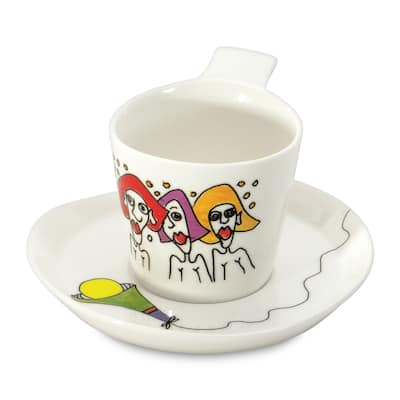 Eclipse Codriez White Porcelain 0.18-liter Coffee Cup and Saucer (Set of 2)