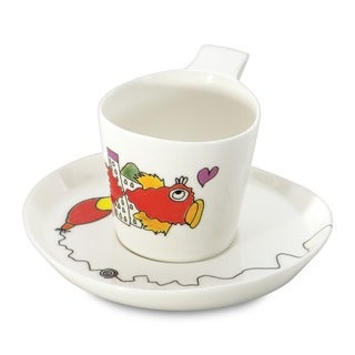Eclipse Codriez White Porcelain 0.24-liter Tea Cup and Saucer (Set of 2)