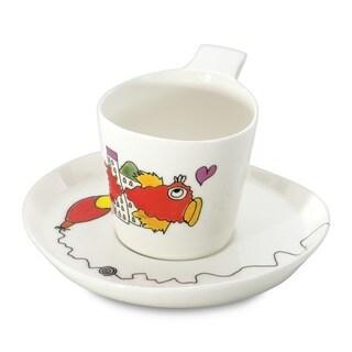 Eclipse Codriez White Porcelain 0.24-liter Tea Cup and Saucer (Set of 2)