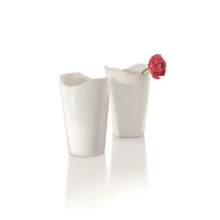 Berghoff Eclipse White 4.75-inch Porcelain Vases (Set of 2)