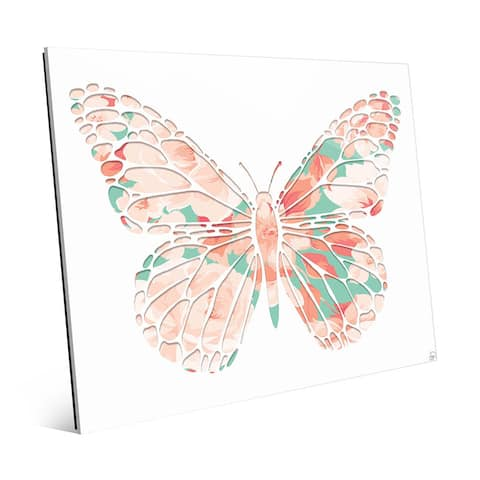 Pink Rose Butterfly' Acrylic Wall Art