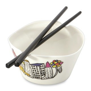 Eclipse Codriez Porcelain Rice Bowl and Chop Sticks