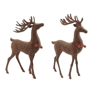 Red and Brown Metal Reindeer with Bell Collar Figurines (Set of 2)