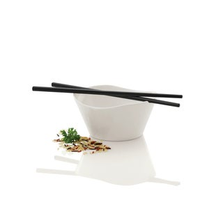 Eclipse Black/White Porcelain Rice Bowl with Chop Sticks