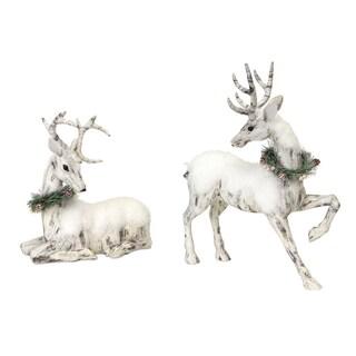 Whte Birch Bark Snow-covered Deer Figurine (Set of 2)
