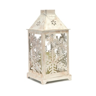 White Plastic Snowflake-cutout Lantern and LED Candle