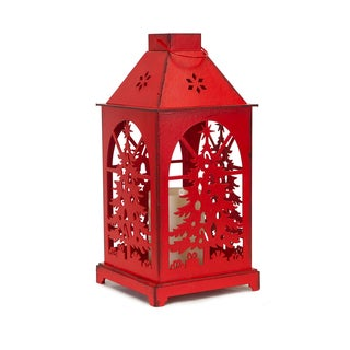 Red Plastic Christmas Tree Cutout LED Candle Lantern