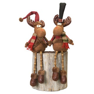 Red/Brown Polyester Sitting Moose with Dangling Legs (Set of 2)