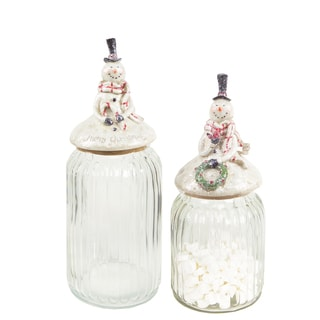 Clear Glass Snowman Canisters (Set of 2)