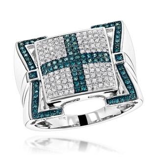 Luxurman 10k Gold Men's 7/8ct TDW Blue Diamond Cross Ring (H-I, SI1-SI2)