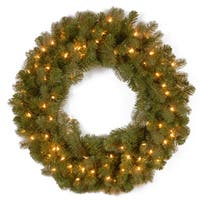 Downswept Douglas 30-inch Wreath with Warm White LED Lights
