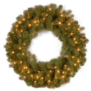 Downswept Douglas 30-inch Wreath with Warm White LED Lights