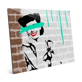 Defaced Lady Aqua Acrylic Wall Art