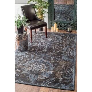 nuLOOM Handmade Country Floral Adileh Wool Grey Rug (8'6 x 11'6)