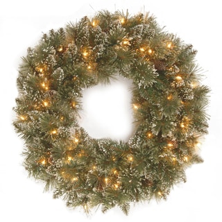Faux Bristle Pine 24-inch Glittery Battery-operated Wreath With Warm White LED Lights