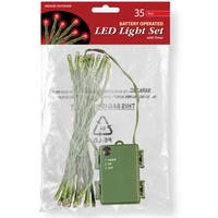 Red LED Battery-operated 35-bulb Light String Set