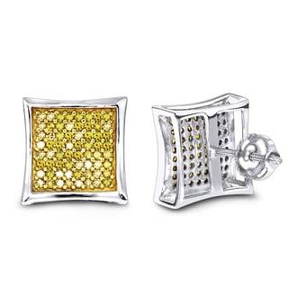 Luxurman 14k Gold 1/2ct TDW Yellow Diamond Stud Earrings