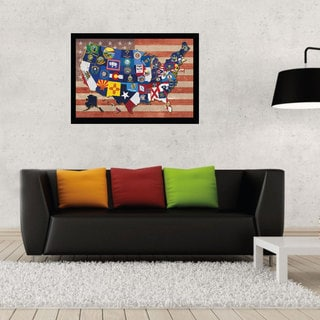 24-inch x 36-inch State Flag Map of the US Print with Black Contemporary Poster Frame