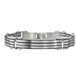 Men's Black Stainless Steel Striped ID Bracelet By Ever One