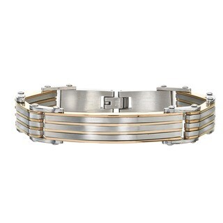 Men's Yellow/Stainless Steel Striped ID Bracelet By Ever One