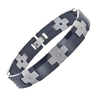 Men's Black/Silvertone Ceramic and Tungsten Diamond Bracelet