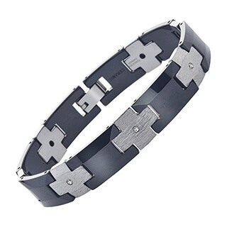 Men's Black/Silvertone Ceramic and Tungsten Diamond Bracelet By Ever One