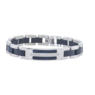 Men's Black Stainless Steel Diamond ID Cable Bracelet By Ever One