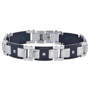 Men's Stainless-steel 0.13-carat H-I I3 Diamond Bracelet By Ever One
