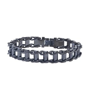 Men's Grey Stainless Steel Track Bracelet