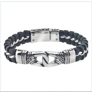 Men's Leather/Stainless Steel ID Bracelet By Ever One