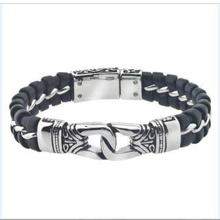 Men's Leather/Stainless Steel ID Bracelet