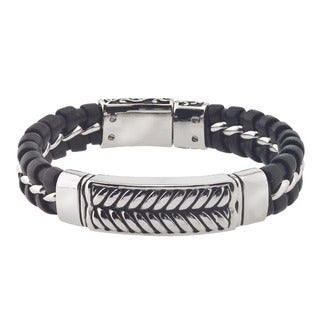 Men's Black Leather/Stainless Steel ID Bracelet By Ever One