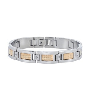 Men's Stainless Steel 18k Yellow Gold Foil Accent 0.12-carat Diamond Accent Bracelet By Ever One