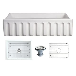 Caesar White Fireclay 36-inch x 18-inch Fluted Edge Single-basin Farmhouse Kitchen Sink With Grid
